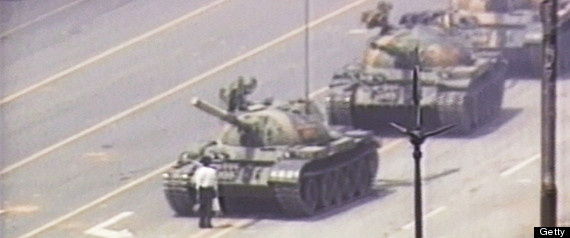 Chinese Activist Blocks Column of Tanks